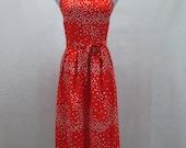 """Malia Mills Red Heart Print Sun Dress 36"""" Bust Woman's size Medium Spaghetti Strap Built in Bra"""