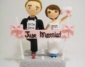 Marathon runners theme Custom wedding cake topper