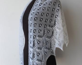10% OFF - White lace beaded shawl, hand knitted wedding shawl, Estonian lace