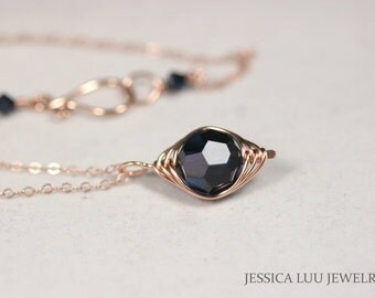 Rose Gold Dark Blue Swarovski Crystal Necklace Wire Wrapped Jewelry Handmade Rose Gold Necklace Navy Blue Necklace Swarovski Crystal Jewelry