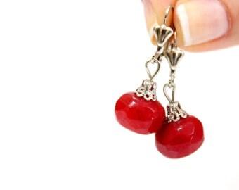 Gemstone Ruby Earrings, Ruby studs, Rough Cut Ruby Earrings, Gift for mom