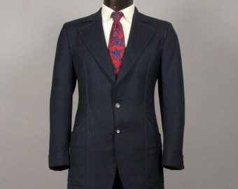 Mens Suit -- Vintage Late 1960s Early 1970s Mens Funky Navy Blue with Swirl Pattern Jacket and Trousers -- Size 39/40