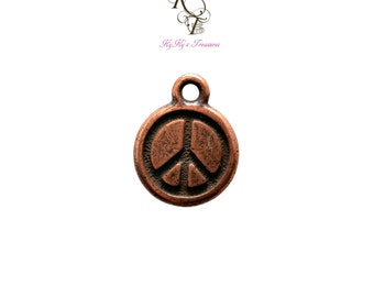 Peace Sign Charm 2 Pieces Tierracast Copper Charms Copper Peace Sign Pendant Antique Copper Charms Copper Jewelry Findings