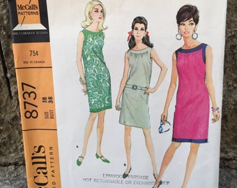 60's McCall's 8737 Pattern Misses' Dress in Two Versions - Size 18 Bust 38