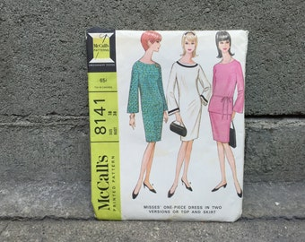 60's McCall's 8148 Pattern Misses' One-Piece Dress in 2 Versions or Top and Skirt - Size 18 Bust 38