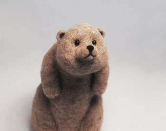 Needle Felted Brown Bear, Needle Felted Animal, Bear Sculpture, Handmade Animal, Needle Felted Bear Doll - READY TO SHIP