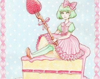 Strawberry Lolita Print 4.5x6 8x10 Watercolor Sweet Cake Original Art Postcard