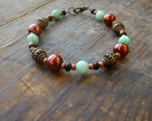 bronze and turquoise shell bracelet rustic jewelry boho beach accessories from Portugal
