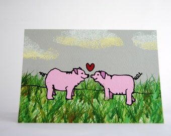3 Pack - Bacon Love (Pig) Greeting Card (love/all occasions)
