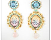 Golden Versailles - Gold, turquoise and light pink earrings with chandelier glass cabochons, bead embroidered earrings