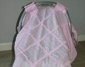 Car Seat Canopy - Pink Quilt Shabby Chic