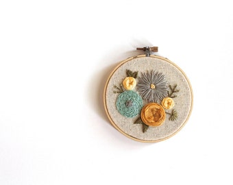 Floral Mini Embroidery Hoop. Embroidery Hoop. Home Decor. Wall Art. Floral Art.