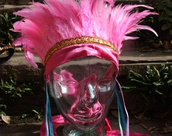 Pink carnival feather headdress- fairylove