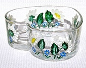 Hand Painted Heart Shaped Glass Bowl With Daisies Mother's Day Gift Home Decor Gifts For Her