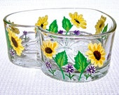 Mothers Day Gift Hand Painted Heart Shaped Glass Bowl With Yellow Daisies, candy dish, home decor, gifts for her