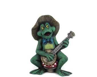 Ceramic Frog Playing the Banjo  - 5 3/4 inches high -  bisque, lawn and garden, indoor or outdoor