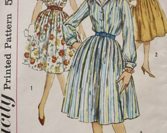 1960s One Piece Dress Sewing Pattern Softly Pleated Simplicity 3042 Vintage Bust 37