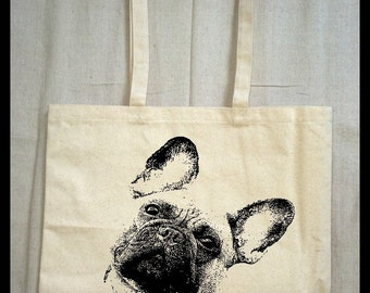 Frenchie tote bag. French bulldog. all natural eco friendly jumbo gusset tote bag. dog lover. friend. canvas cotton. reusable. dog lover bag