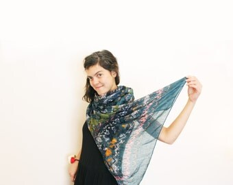 Soft  Scarf Viscose Ethnic Native Colors Patterns Olive Green Coral Colorful Shawl