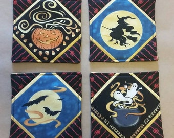 Halloween Coasters, Set of 4, Jack O Lantern, Bats, Witch, Cauldron, Ghosts, Halloween Party Decor, Halloween Home Decor, Spooky Finds