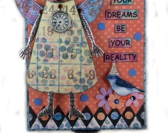 Fairy Art Collage, Altered Art Fairy, Whimsical Fairy Art,  Assemblage Art Fairy, Inspirational Art, Let Your Dreams