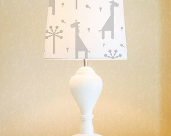 Giraffe | Lamp Shade, Pendant Light 34 cm (13.4 in) fabric, light grey (choose your colours), hand painted