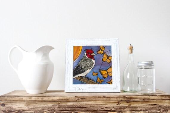 """Bird Art Print - Blue Kitchen Wall Decor - Original Illustration 8x8"""" - Nursery Baby Artwork - Cardinal and Yellow Monarch Butterflies"""