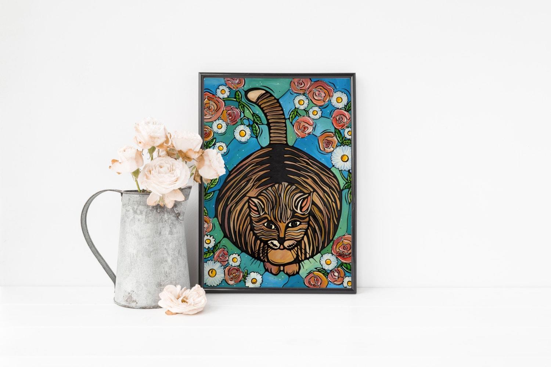 Original art print cat decor whimsical orange cat art 5x7 for Whimsical decor