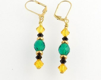 Golden Yellow and Teal Crystal Beaded Earrings, Dressy Earrings, Holiday Jewelry, Gifts