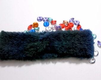 Knit chunky headband - turban headband - faux fur headband - wool headband - blue headband - knit earwarmer - turban headwrap - gift for her