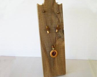 12 Inch Rustic Necklace Stand Wood Necklace Display Weathered Reclaimed Wood Space Saving Design for Craft Shows