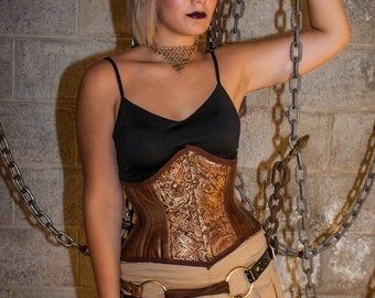 Brown Brocade and Vinyl Steampunk Coutil Underbust Corset