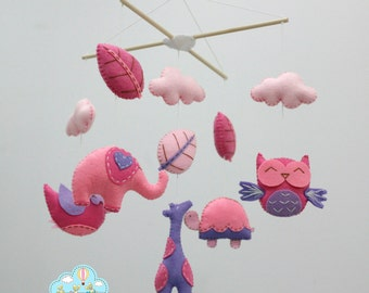 Pink and purple baby mobile- Forest baby mobile- pink and purple animals mobile