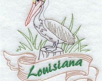 Louisiana State Bird E.Brown Pelican Embroidered Decorative Absorbent White Cotton Flour Sack Towel, Linen Towel, Waffle Towel, Hand Towel