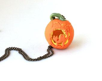 Halloween Jewelry- Pumpkin necklace- Cat necklace