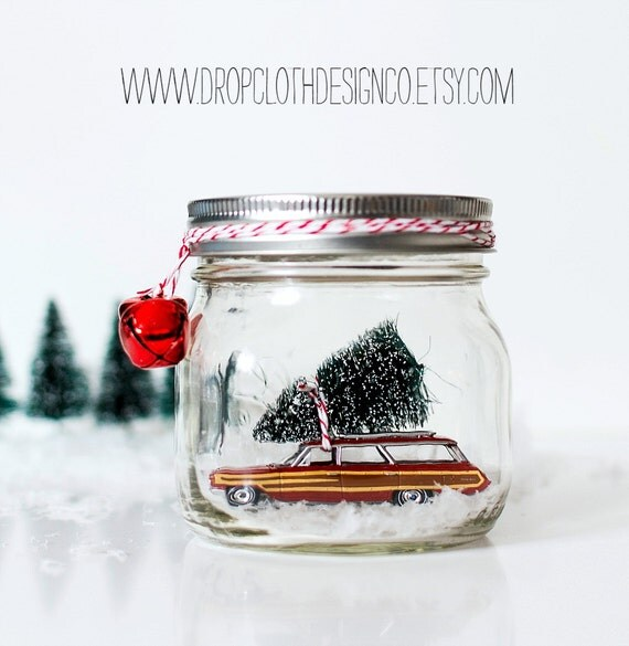 Car In Jar Snow Globe - Vintage Ford Country Squire Woody Wagon