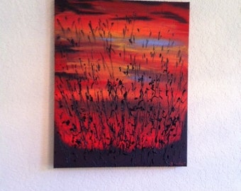 Sunset At The Lake One Of A Kind Painting Acrylics on Canvas