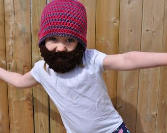 Crochet baby/toddler/kids beard hat with detachable beard
