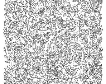 Detailed Coloring Page - Intricate Floral Illustration - Digital Download