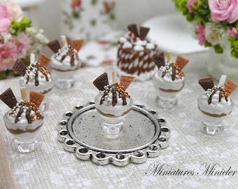 Miniature Dollhouse Chocolate Ice Cream Bowl 1:12