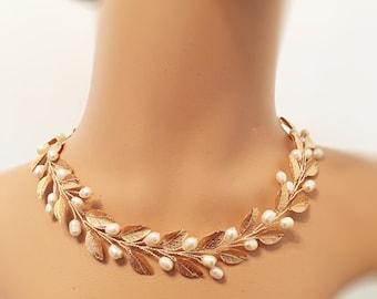 Wedding necklace rose gold, statement necklace for bride, gold bridal necklace pearl, leaf necklace bridal jewelry wedding jewelry bridal