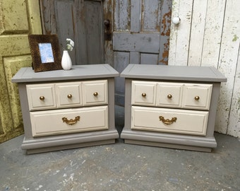 Gray Nightstands, Shabby Chic Style, Vintage Nightstands, Painted Nightstands, Real Wood Furniture