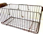 Large Vintage Steel Wire Metal Basket with Handles Rusty Chic Storage