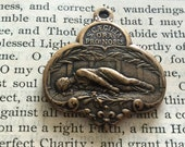 """St. Cecilia Medal - 1 1/4"""" - Bronze or Sterling Silver - Patron of Music -Antique Reproduction - Made in the USA (M-1321)"""