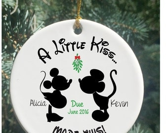 Personalized Christmas Ornaments  A Little Kiss Made This...Pregnancy Ornament