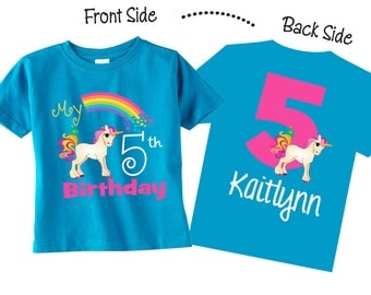 5th Birthday Shirts and Tshirts with Unicorn Unicorn Birthday Shirts on TURQUOISE