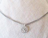 "X Personalized best friend,  ""X initial coin charm necklace"",  X silver edgy monogram choker, Unique X letter hipster birthday necklace gift"