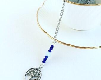 """Tea Infuser """"Tree of Life"""" Charm ~Tea Time~ Mesh Tea Ball //  Blue Beads"""