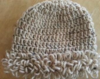 Crochet Speckled Tan Allie-Loop Beanie