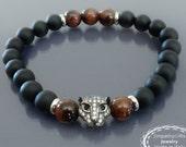 Mens black onyx bracelet Red tiger eye bracelet Black panther animal bracelet Men beaded bracelet Wrist mala beads Gift for him Gift for man